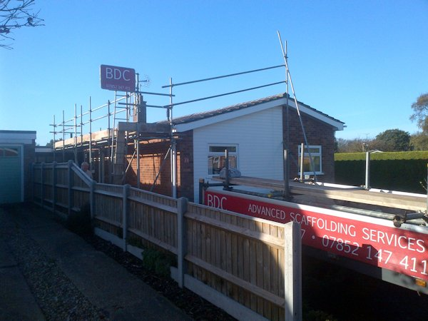 Scaffolding in Cromer, for Solar Panels